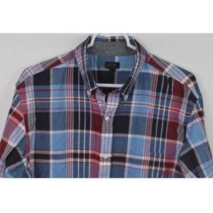 J CREW Large Plaid Cotton Long Sleeve Shirt